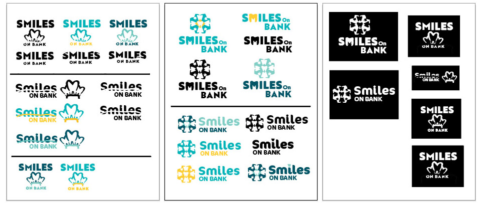 Multiple variations of logos and colours