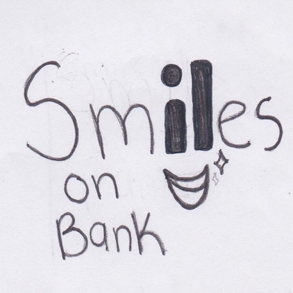 Workmark turning the word Smiles into a smile logo sketch