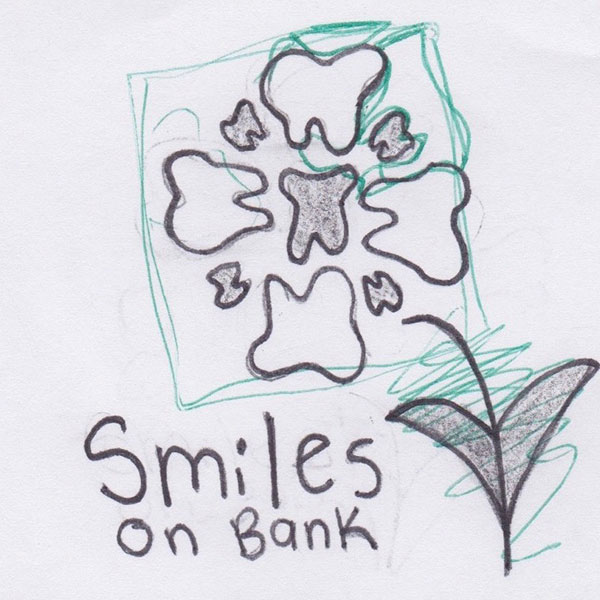 Multiple teeth as a flower logo sketch