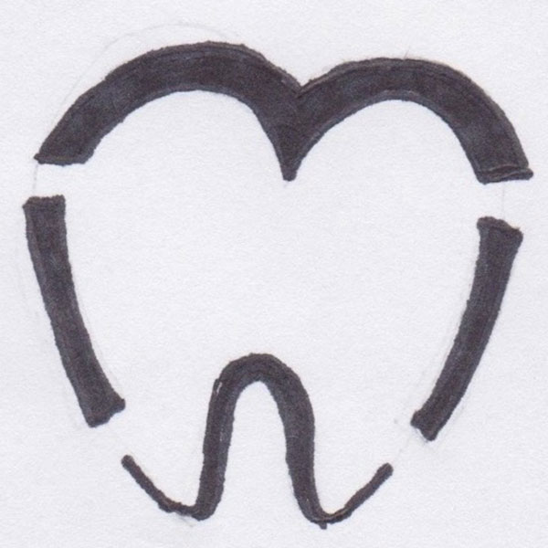 Tooth seperated in four logo sketch