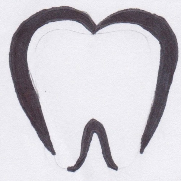 Tooth seperated in two logo sketch