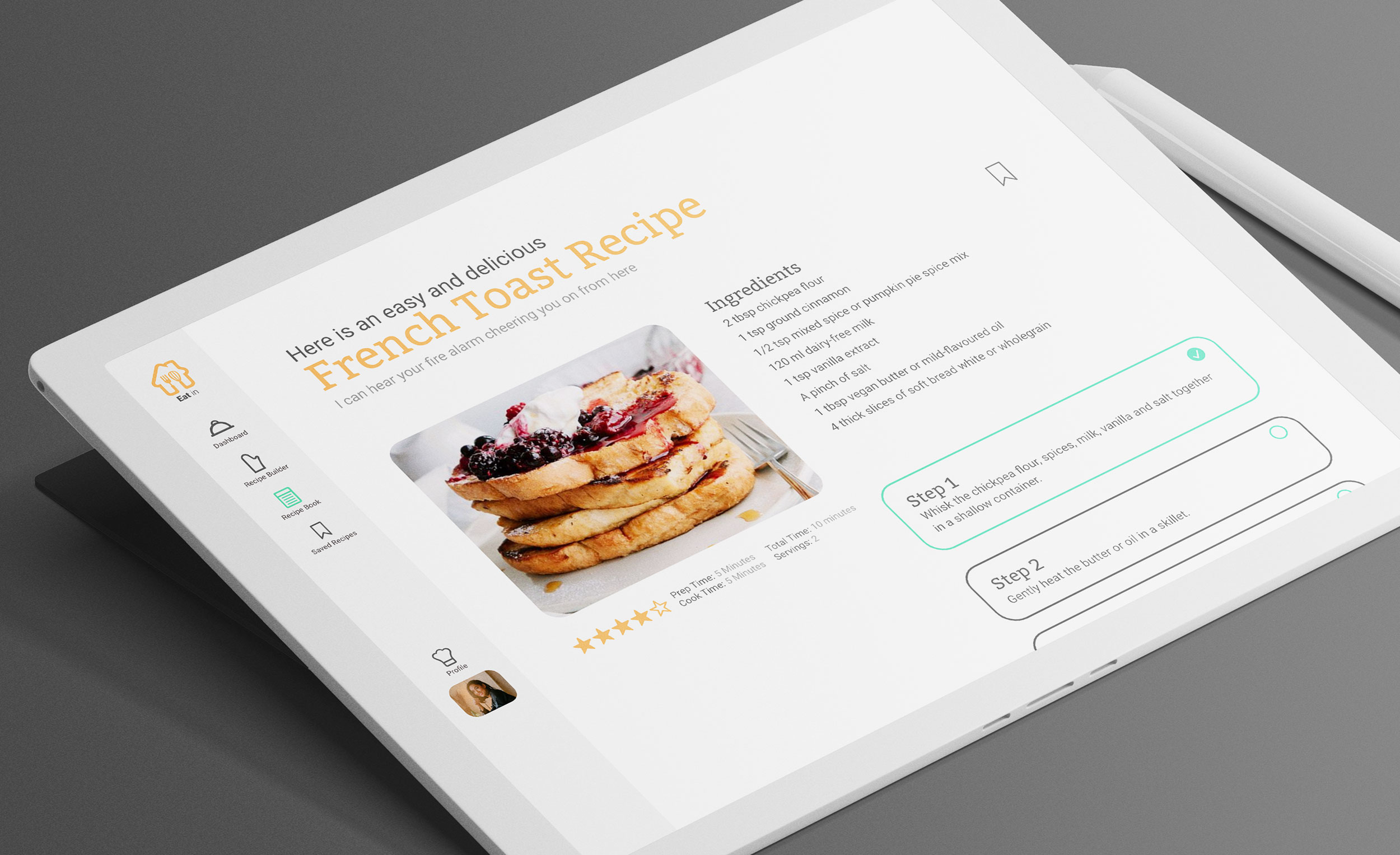 Eat in recipe screen on a tablet